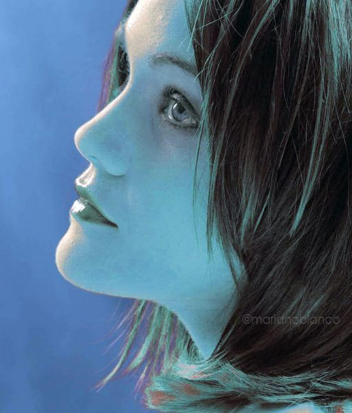 Retrato peluquería en azul